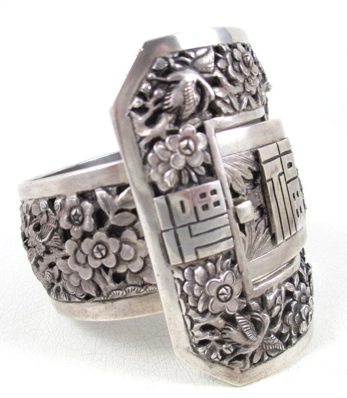 Extraordinary Chinese Export Sterling Repousse Bracelet
