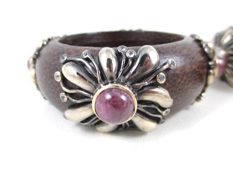 Beautiful Sterling Ruby Quartz Wood Bangle Bracelets