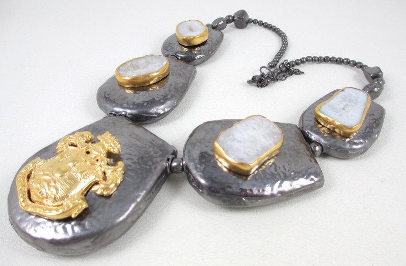 Bold Gunmetal Drusy Stone 24k Vermeil Bib Necklace
