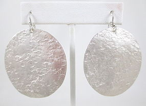 Chic Tony Davis Hammered Sterling Silver Disc Earrings