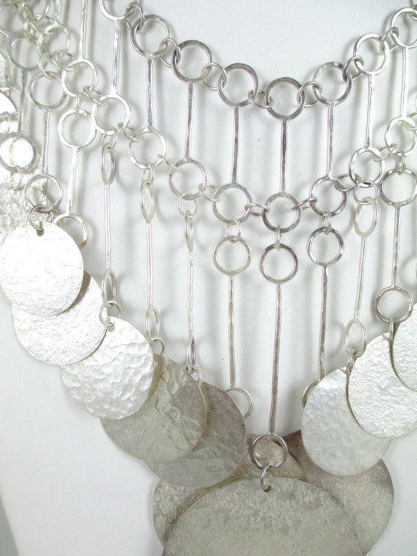 Bold Hammered Sterling Silver Disc Bib Necklace