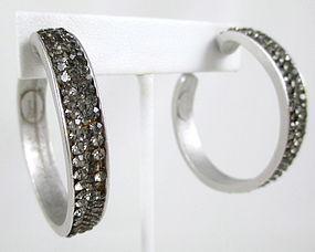 Elegant and Chic Deanna Hamro Rhinestone Hoop Earrings