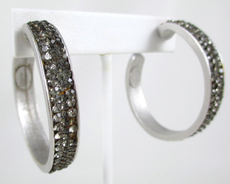 Elegant and Chic Deanna Hamro Rhinestone Hoop Earrings