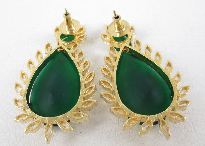 Gorgeous Faux Emerald CZ Pendant Earrings