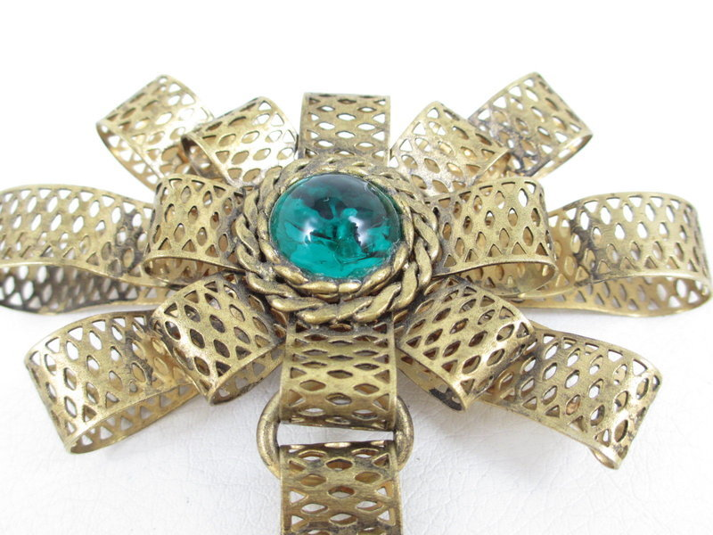 Amazing Andrew Spingarn Poured Glass Filigree Pin