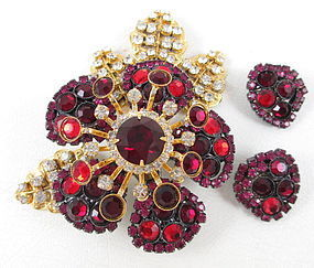 Lawrence Vrba Ruby Flower Tremblant Pin & Earrings