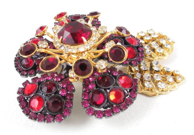 Lawrence Vrba Ruby Flower Tremblant Pin & Earrings