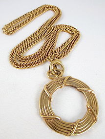 Classic Chanel Chain Monocle Pendant Necklace