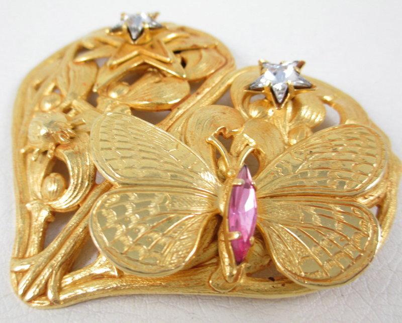 Beautiful Philippe Ferrandis France Butterfly Heart Pin