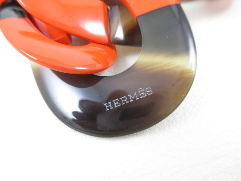 Striking Hermes Orange Lacquered Horn Necklace