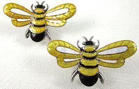 Charming Margot de Taxco Enamel Bee Earrings