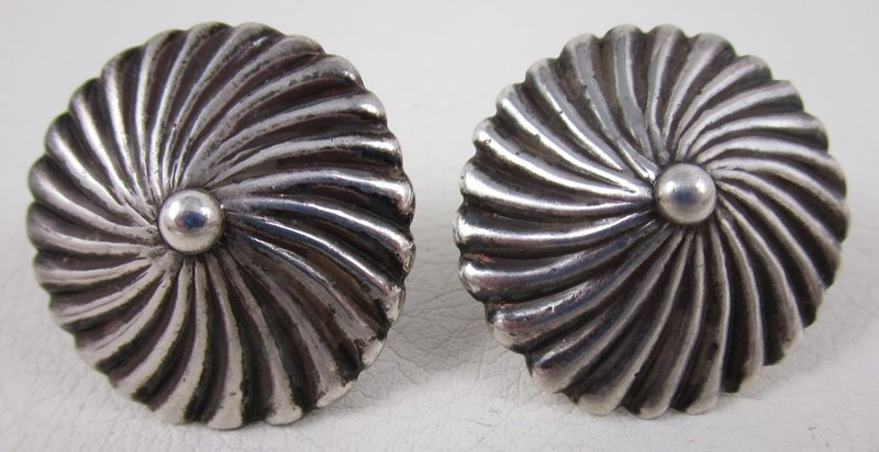 Lovely Los Castillo Mexican Silver Button Earrings