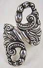 Bold Mexican Silver Repoussé Clamper Style Bracelet
