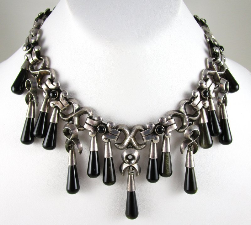 Important and RARE Antonio Pineda Mexican Silver Onyx Bib Necklace