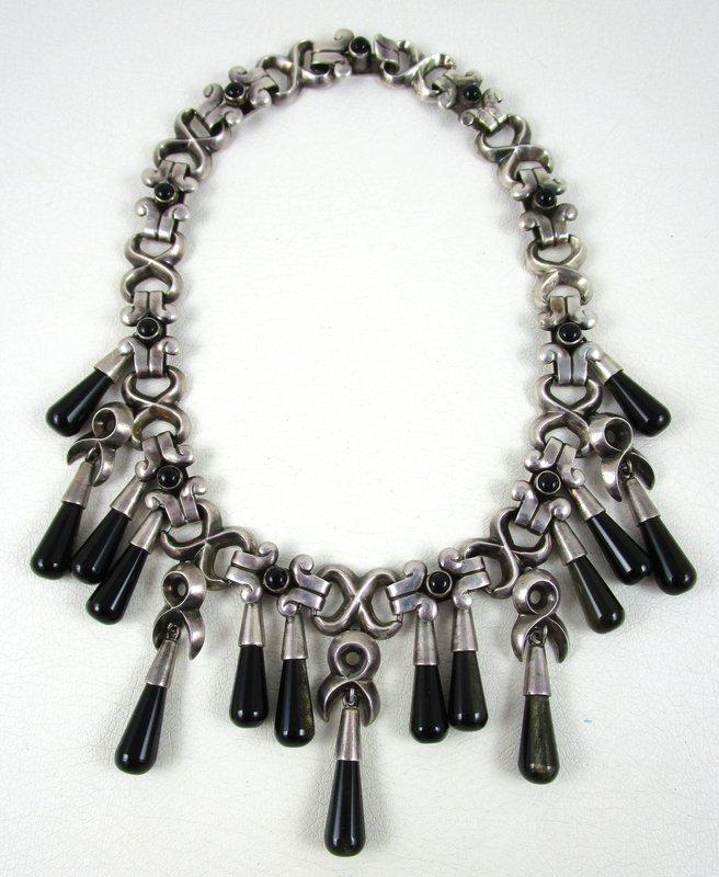 Important and RARE Antonio Pineda Mexican Silver Onyx Bib Necklace