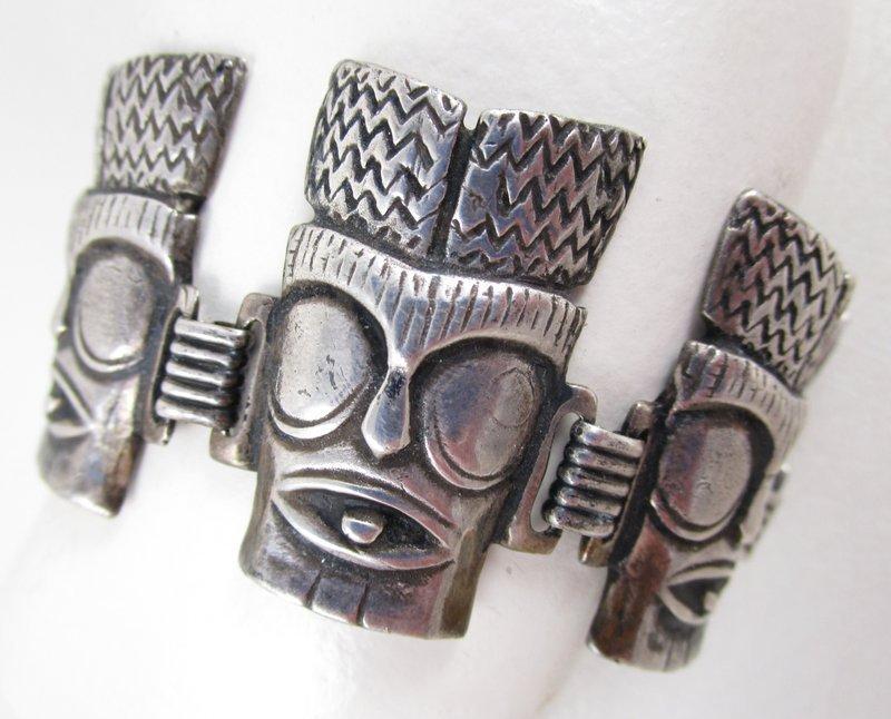 Rare Ming's of Honolulu Sterling Tiki Mask Bracelet