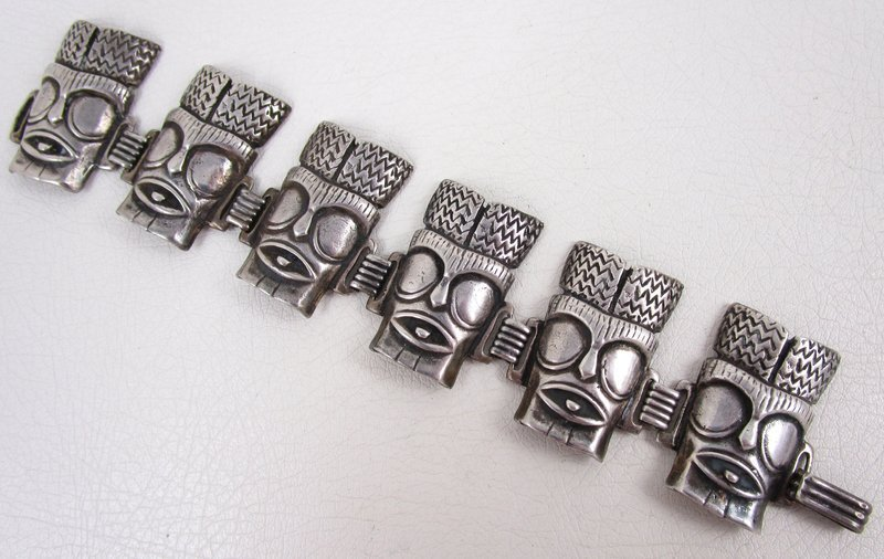 Rare Ming's of Honolulu Sterling Tiki Mask Bracelet