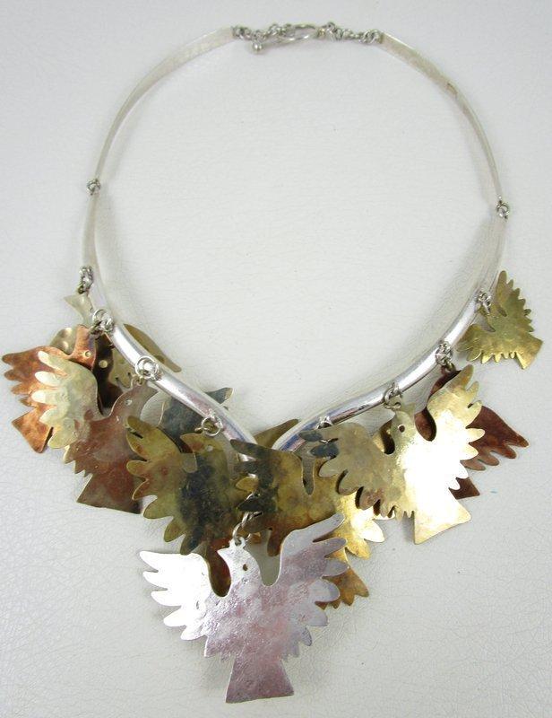 """Unusual Emilia """"Mimi"""" Los Castillo Sterling Brass Copper Bird Necklace"""
