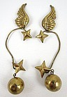 Rare Hubert Harmon Brass Wings & Stars Earrings