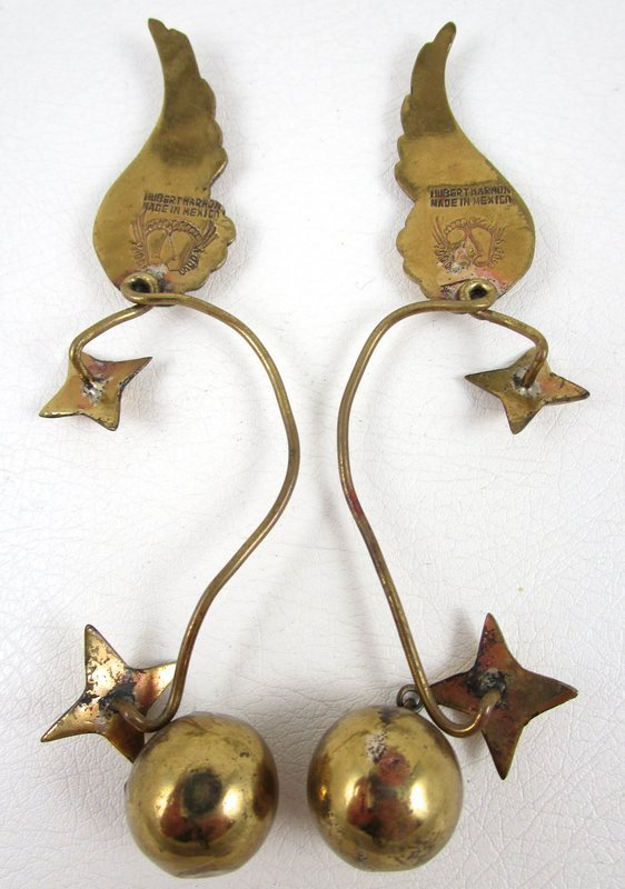 Rare Hubert Harmon Brass Wings & Stars Earrings
