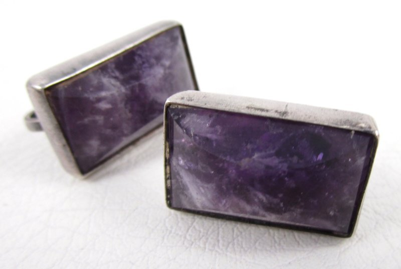 Fred Davis Design Mexican Silver Amethyst Bracelet and Earrings
