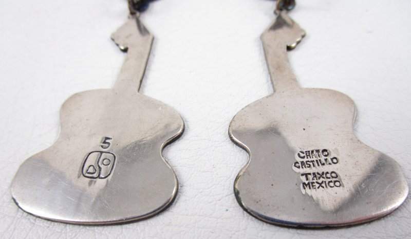 Unusual Mixed Metal Chato Los Castillo Modernist Guitar Earrings