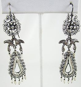 Gorgeous Mexican Silver Seed Pearl Filigree Bird Earrings