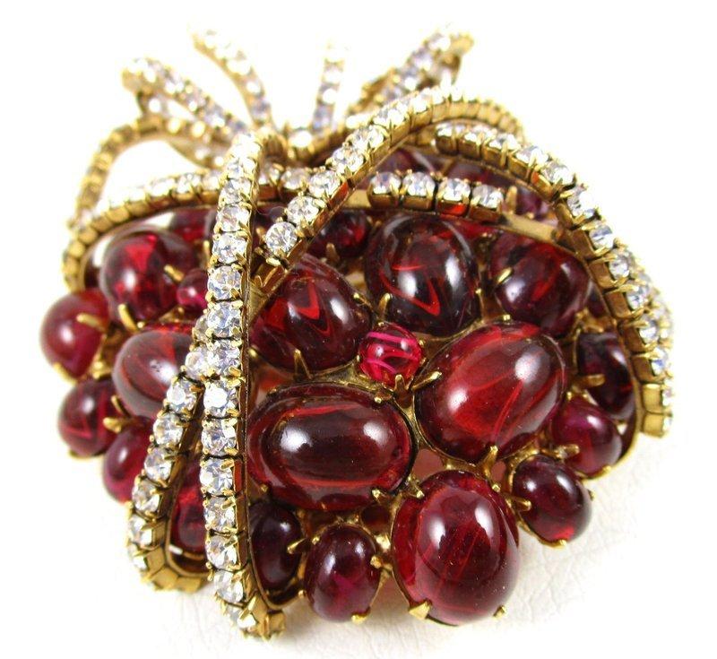 Outstanding Verdura Style Rhinestone Heart Pin by Iradj Moini