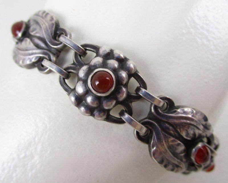 Rare Art Nouveau Georg Jensen Carnelian Sterling Bracelet #3
