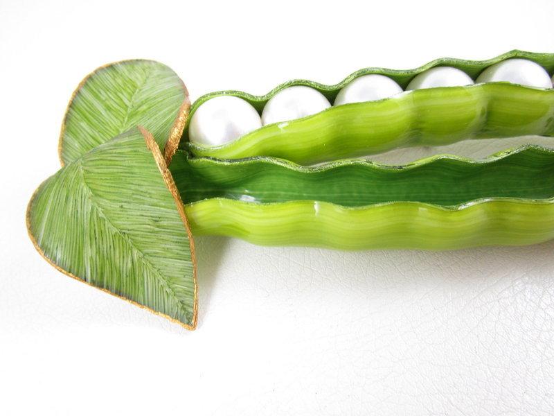 Large Whimsical Cilea Paris Resin Pea Pod Pin