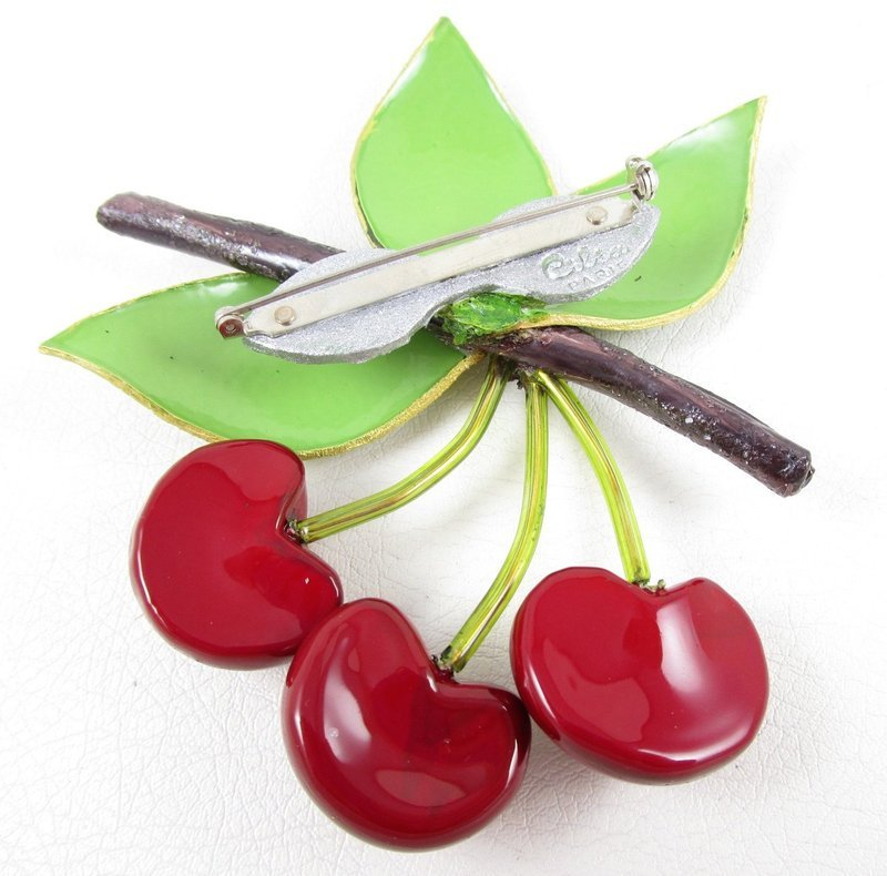 Whimsical Cilea of Paris Resin Red Cherry Pin