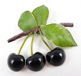 Whimsical Cilea of Paris Resin Black Cherry Pin