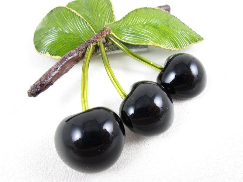 Whimsical Cilea of Paris Resin Black Cherry Pin