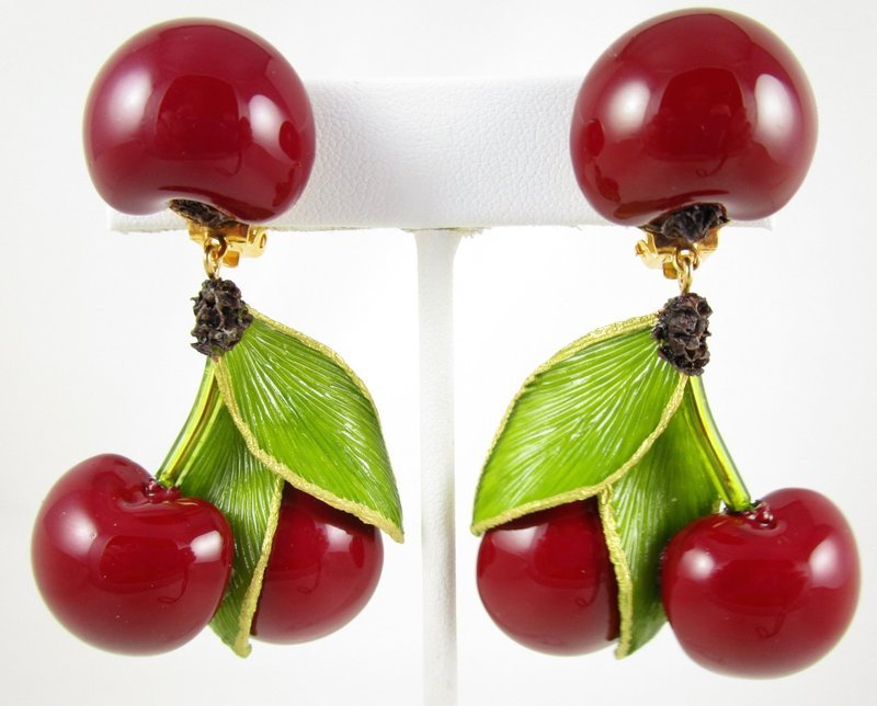 Whimsical Cilea of Paris Resin Red Cherry Earrings