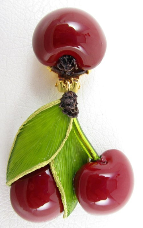 Whimsical Cilea of Paris Resin Red Cherry Earrings