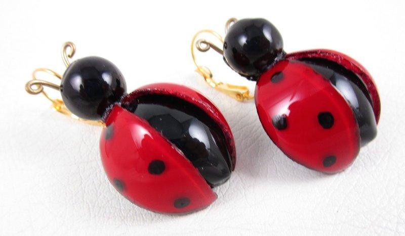 Whimsical Cilea of Paris Resin Lady Bug Earrings