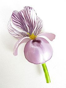 Lovely Cilea of Paris Resin Violet Iris Pin
