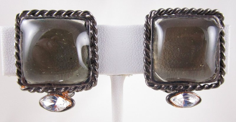 Lovely Chanel Inspired Gripoix Glass Gray Chiclet Earrings