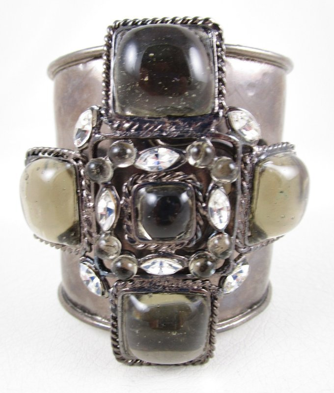 Chanel Inspired Gripoix Glass Grey Maltese Cuff Bracelet