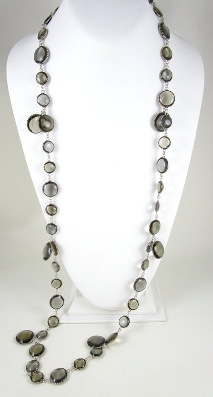 "Chanel Inspired Grey Gripoix Glass ""Sequin"" Necklace"