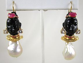Spectacular Jarin Kasi Sterling Baroque Pearl Blackamoor Earrings
