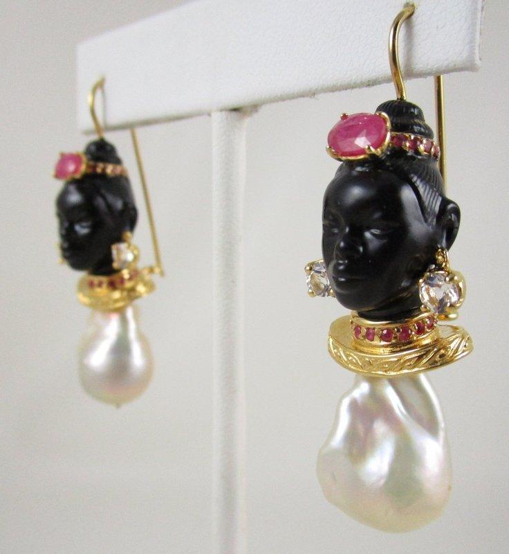 Spectacular Jarin Kasi Sterling Baroque Pearl Blackamoor Earrings