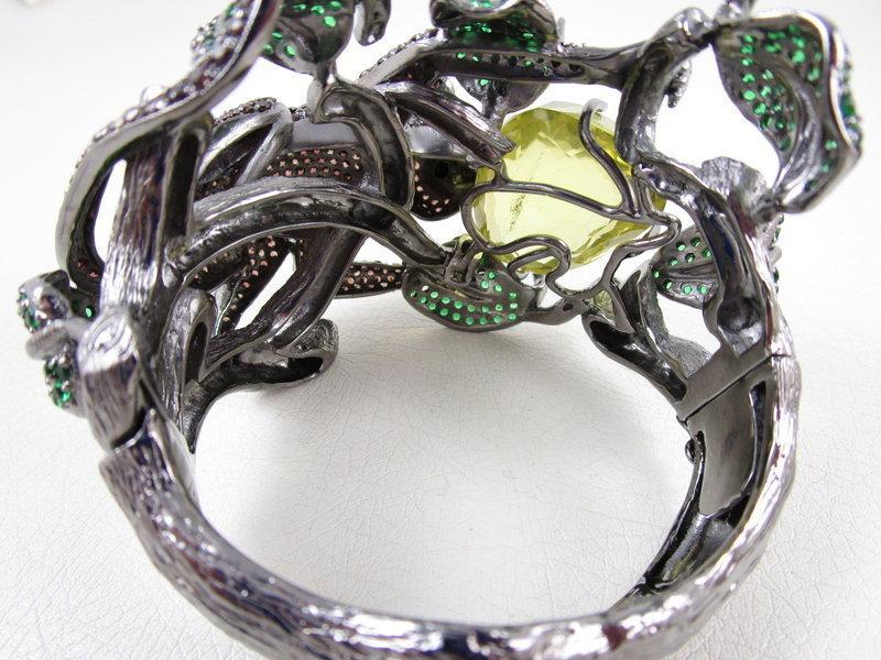Monumental Jarin Kasi Sterling Lemon Quartz Monkey Bracelet