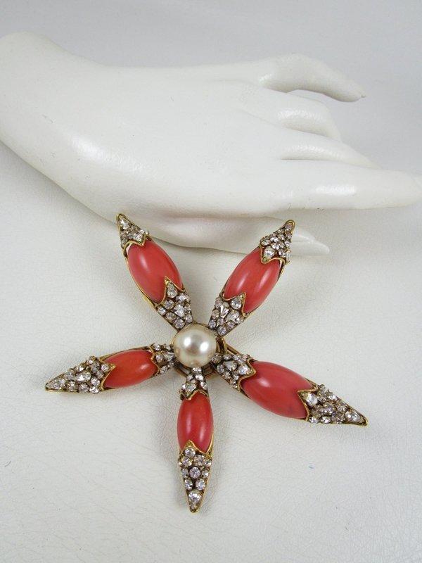 Spectacular Iradj Moini Coral Pearl and Rhinestone Starburst Pin