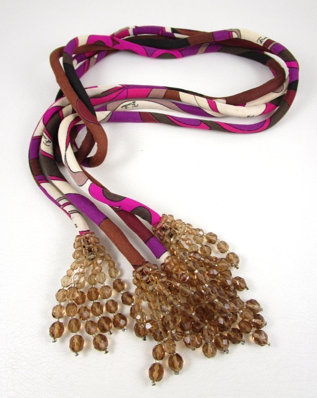 Coppola E Toppo for Emilio Pucci Jersey Crystal Lariat Necklace / Belt