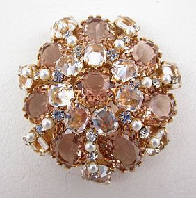 Classic Schreiner of New York Layered Rhinestone Pin