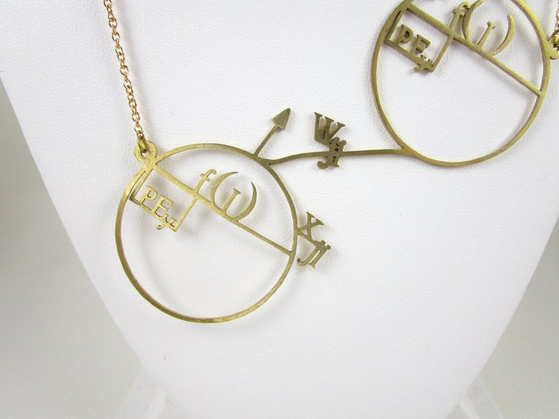 Unique Brass Cut Work Math Circles Equation Necklace
