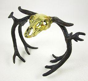 Unusual Gothic Chic Brass Longhorn Skull Horn Bracelet