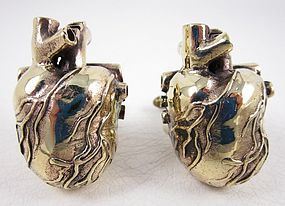 Unusual Oversized Brass Heart With Valves Cufflinks