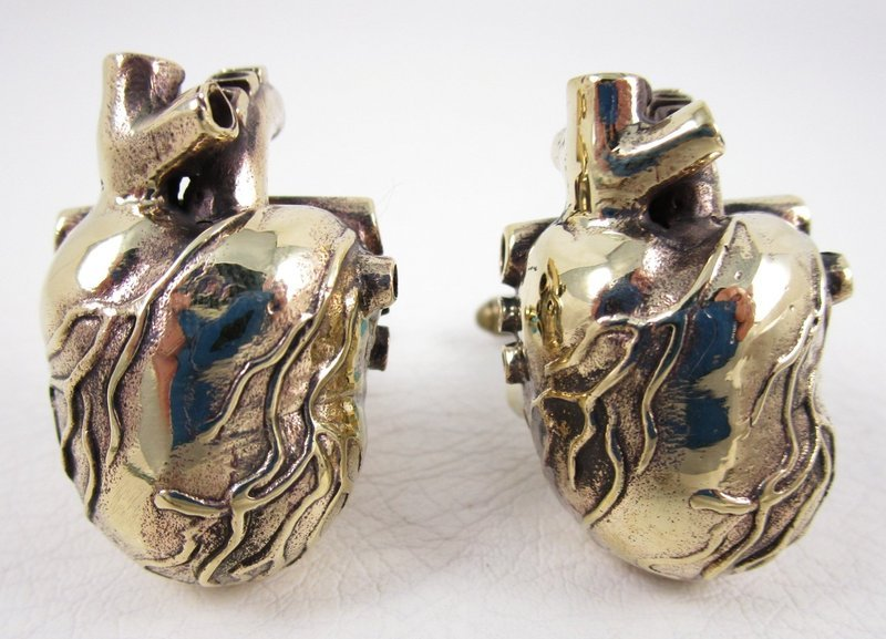 Unusual Oversized Brass Heart With Valves Cufflinks